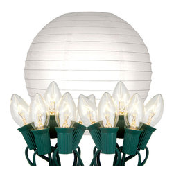 """LumaBase Luminarias - Electric String Lights with Round Paper Lanterns (10"""") 10 Count White - Electric round paper lanterns are an economical way to add color and dimension to your event. They will create a beautiful ambiance day or night. Use them on tree branches, under a party tent, above a dinner table or under a patio umbrella. They'll add a touch of flair and a festive feel any way you use them. The lanterns come on a 30' UL listed electric cord with end to end connectors."""