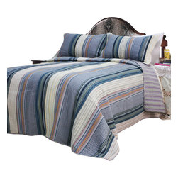 Blancho Bedding - Adonis 100% Cotton 3PC Vermicelli-Quilted Striped Patchwork Quilt Set  King - Set includes a quilt and two quilted shams (one in twin set). Shell and fill are 100% cotton. For convenience, all bedding components are machine washable on cold in the gentle cycle and can be dried on low heat and will last you years. Intricate vermicelli quilting provides a rich surface texture. This vermicelli-quilted quilt set will refresh your bedroom decor instantly, create a cozy and inviting atmosphere and is sure to transform the look of your bedroom or guest room. Please note that reverse quilt patterns may vary due to different batch production.