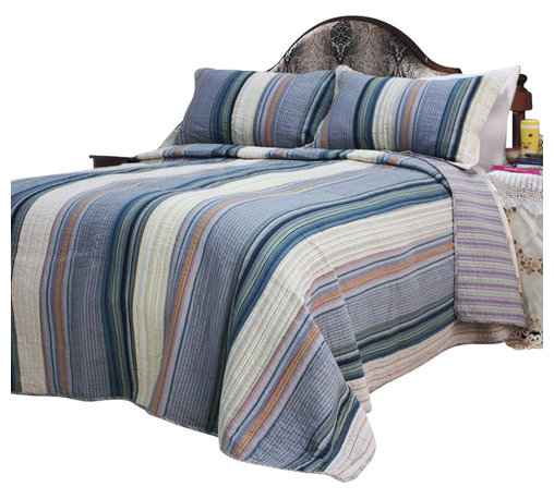 Blancho Bedding - [Adonis] 100% Cotton 3PC Vermicelli-Quilted Striped Patchwork Quilt Set (King) - Set includes a quilt and two quilted shams (one in twin set). Shell and fill are 100% cotton. For convenience, all bedding components are machine washable on cold in the gentle cycle and can be dried on low heat and will last you years. Intricate vermicelli quilting provides a rich surface texture. This vermicelli-quilted quilt set will refresh your bedroom decor instantly, create a cozy and inviting atmosphere and is sure to transform the look of your bedroom or guest room.