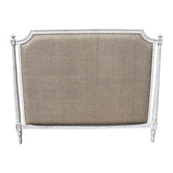 NOIR - NOIR Furniture - Isabelle Headboard - GBED108, White Wash, Cal King - Featuring natural, simple and classic designs, Noir products supply a timeless complement to a variety of interiors. The traditional Isabelle headboard elicits an air of modernity with burlap upholstery. Round nailhead trim and the frame's intricate detailing attract the eye, while a hand-rubbed black finish over mahogany wood delivers to bedrooms a true richness. Available in several sizes. Headboard stands flush to the wall versus attaching to a standard bed frame. Finish will feature distressed characteristics.