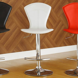Homelegance - Homelegance Ride White Airlift Swivel Stool w/ Tall Back - A fun and unique way to add a little color to your casual recreation or dining room is the Ride Collection. Offered in a variety of contemporary colors, shapes and sizes, each bar stool features a gas lift mechanism that allows for the stool to rise and descend with the simple touch of a lever. Sold in 2-piece per carton. - 1148WHT.  Product features: Gas lift mechanism; Contemporary colors, shapes and sizes; Tall Back; 2-piece per carton; White Finish. Product includes: Stool (2). White Airlift Swivel Stool w/ Tall Back belongs to Ride Collection by Homelegance.