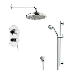 Remer - Round Polished Chrome Rain Shower Faucet Set - Multi function shower faucet. Polished chrome finish. Water flow rate: 2.5. Two-way concealed diverter. Spray Pattern: Aerated Spray, wide, vigorous, rain. Round shaped shower head. Crafted out of brass. Handle style: lever and knob. Two levers. Made in Italy by Remer. Note: Diverter includes trim and rough in valve. Pressure balance cartridge.