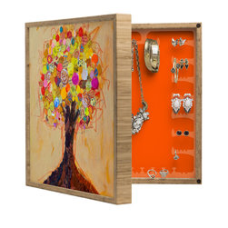 DENY Designs - Elizabeth St Hilaire Nelson Summer Tree BlingBox Petite - Handcrafted from 100% sustainable, eco-friendly flat grain Amber Bamboo, DENY Designs BlingBox Petite measures approximately 15 x 15 x 3 and has an exterior matte cover showcasing the artwork of your choice, with a coordinating matte color on the interior. Additionally, the BlingBox Petite includes interior built-in clear, acrylic hooks that hold over 120 pieces of jewelry! Doubling as both art and an organized hanging jewelry box, It's bound to be the most functional (and most talked about) piece of wall art in your home! Custom made in the USA for every order.