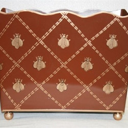 "Standard Magazine Bin ""French Bee Brown & Gold"" - This magazine stand will help keep you organized and add a fun beestung pattern to your home. It would also be great for storing supplies in the powder room."