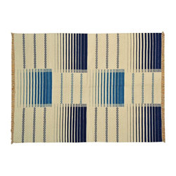 Reversible Durie Kilim Flat Weave 6x8 Navy Blue Hand Woven Rug 100% Wool SH14522 - Soumaks & Kilims are prominent Flat Woven Rugs.  Flat Woven Rugs are made by weaving wool onto a foundation of cotton warps on the loom.  The unique trait about these thin rugs is that they're reversible.  Pillows and Blankets can be made from Soumas & Kilims.