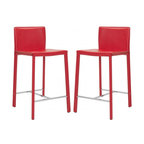 "Safavieh - Jason 24"" Counter Stool (Set Of 2) - Choose the 24 in Jason counter stool for clean, contemporary seating at your kitchen counter or family room bar. With minimalist lines, stainless steel foot rails and an iron frame completely upholstered in red bonded leather, Jason will keep its good looks for years of active family service."