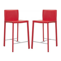 "Safavieh - Jason 24"" Counter Stool (Set Of 2) - Choose the 24� Jason counter stool for clean, contemporary seating at your kitchen counter or family room bar. With minimalist lines, stainless steel foot rails and an iron frame completely upholstered in red bonded leather, Jason will keep its good looks for years of active family service."