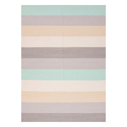 Jaipur Rugs - Flat Weave Stripe Pattern Gray /Black Wool Handmade Rug - MR48, 2x3 - An array of simple flat weave designs in 100% wool - from simple modern geometrics to stripes and Ikats. Colors look modern and fresh and very contemporary.