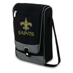 """Picnic Time - New Orleans Saints Barossa Wine Tote in Black - The Barossa is so sleek and sophisticated, you'll want to take it with you every chance you get. It's made of 600D polyester and features an adjustable shoulder strap that makes it easy to carry and a flat zippered pocket on the exterior flap. The Barossa is fully insulated to keep your wine the perfect temperature and has a divided interior compartment to separate your bottle of wine from the 2 (8 oz.) acrylic wine glasses included. Also included are: 1 stainless steel waiter style corkscrew, 1 bottle stopper (nickel-plated), and 2 napkins (100% cotton, 14 x 14"""", Black with silver pinstripe). The Barossa wine tote is perfect for picnics, concerts, or travel and makes a wonderful gift for those who enjoy wine.; Decoration: Digital Print; Includes: 14 stainless steel waiter style corkscrew, 1 bottle stopper (nickel-plated), and 2 napkins (100% cotton, 14 x 14"""", Black with silver pinstripe)"""