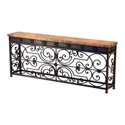 Mexican Artisans - Villa Gate Large Console - This lovely old-world console table was inspired by a villa gate outside of Florence Italy. The warm patina of recycled, hand-hammered copper and finely crafted wrought iron is both beautiful and meant to hand down through generations! This incredibly labor intensive crafting process is proudly practiced by artisans in Villa Escalante, high in the mountains of South Central Mexico.