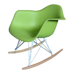 Molded Plastic Rocker, Green - Glide.rock.sing or sack out. How many gliders have you seen in friend's room. This high-quality reproduction of rocking chair (also called cradle chair) is something that can be with your family for years to come, perfectly suited to any room of your home. The oringinal rocker is make of fiberglass and steel, but this modern rocker is crafted with recycled polyprolene shell over a very supportive chromed steel base support. This molded shell has a deep seat pocket, integrated armrests and a high backrest. The waterfall seat edge promotes comfortable seating for extended periods of time by reducing pressure on the backs of thighs.