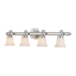 """Polished Chrome And Opal Glass 4 Light 32"""" Bath Wall - Condition: New - in box"""