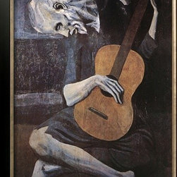 Artcom - The Old Guitarist, c.1903 by Pablo Picasso - The Old Guitarist, c.1903 by Pablo Picasso is a Framed Art Print set with a ALLEGRO Bronze wood frame.