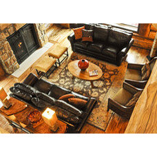 Living Room by Mountain Log Homes & Interiors