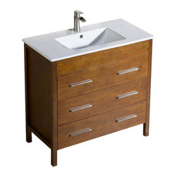 "Inolav - Bathroom Vanity Morris 36"" with Porcelain Sink Top, Chestnut - Capture the best of modern and transitional style with the Morris bathroom vanity. It features an abundance of soft close drawers for easy and convenient access of the everyday toiletries. The sleek look of the Morris vanity gets completed with our beautiful and easy to grab drawer hardware in Brushed Nickel finish."
