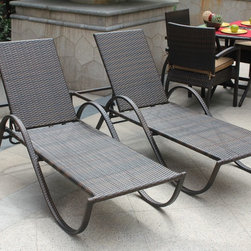 Bellini Home and Gardens - Azul Chaise Lounge- 2 Pack - The Azul Collection Outdoor Chaise Lounges - Set of 2 lets you and a friend relax under the sun in ultimate comfort. Each outdoor chaise lounge is hand-woven from sepia-toned flat wicker  with a fully concealed rustproof aluminum frame underneath. The Azul Collection is built to last outdoors  as the chairs are outfitted with all-weather Sunbrella outdoor cushions in a canvas walnut color.