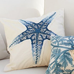 "Blue Starfish Embroidered Pillow Cover 18"" sq. - Skillful embroidery and hand-tied French knots give our starfish a sculptural effect. Appliqued across the pillow, the edges are left unfinished to add soft texture and depth. 18"" square Made of pure cotton. Yarn dyed for vibrant, lasting color. Reverses to solid ivory. Hidden button closure. Insert sold separately, down blend or synthetic. Machine wash. Imported."