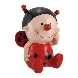 Sweet Little Lady Bug Baby Coin Bank 10 In. - This cute coin bank is a wonderful accent in any little girl`s room! It features a baby in a lady bug costume and measures 10 1/4 inches tall, 8 inches long, and 6 inches wide. It is made of cold cast resin, lovingly hand painted for a whimsical effect, and empties via a plastic plug on the bottom. It makes a great baby shower gift, birthday gift, or holiday gift, and is sure to be admired for years to come.