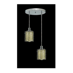 Elegant Lighting - Mini Peridot Crystal Pendant w 2 Lights in Chrome (Strass Swarovski) - Choose Crystal: Strass Swarovski. 3 ft. Chain/Wire Included. Bulbs not included. Crystal Color: Lt. Peridot (Light Green). Chrome finish. Number of Bulbs: 2. Bulb Type: GU10. Bulb Wattage: 55. Max Wattage: 110. Voltage: 110V-125V. Assembly required. Meets UL & ULC Standards: Yes. 9 in. D x 8 to 48 in. H (6lbs.)Description of Crystal trim:Royal Cut, a combination of high quality lead free machine cut and machine polished crystals & full-lead machined-cut crystals..SPECTRA Swarovski, this breed of crystal offers maximum optical quality and radiance. Machined cut and polished, a Swarovski technician¢s strict production demands are applied to this lead free, high quality crystal.Strass Swarovski is an exercise in technical perfection, Swarovski ELEMENTS crystal meets all standards of perfection. It is original, flawless and brilliant, possessing lead oxide in excess of 39%. Made in Austria, each facet is perfectly cut and polished by machine to maintain optical purity and consistency. An invisible coating is applied at the end of the process to make the crystal easier to clean. While available in clear it can be specially ordered in a variety of colors.Not all trims are available on all models.