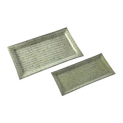 IMAX Worldwide Home - Script Serving Trays - Set of 2 - Set of 2. Material: 100% Glass. Food safe. .75-1 in. H x 6.75-10.5 in. W x 14.5-17.25 in. D. Weight: 3.63 lbs.Provide a pop of chic metropolitan sophistication with this set of two script serving trays in white glass featuring beautiful handwritten decoration. Food safe.