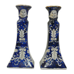 """Golden Lotus - Chinese Porcelain Blue White Graphic Candle Holders - Dimensions:  3.75"""" x 3.75""""x  h8.5"""""""