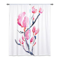 """DiaNoche Designs - Window Curtains Lined by Brazen Design Studio - Japanese Magnolia - DiaNoche Designs works with artists from around the world to print their stunning works to many unique home decor items.  Purchasing window curtains just got easier and better! Create a designer look to any of your living spaces with our decorative and unique """"Lined Window Curtains."""" Perfect for the living room, dining room or bedroom, these artistic curtains are an easy and inexpensive way to add color and style when decorating your home.  This is a woven poly material that filters outside light and creates a privacy barrier.  Each package includes two easy-to-hang, 3 inch diameter pole-pocket curtain panels.  The width listed is the total measurement of the two panels.  Curtain rod sold separately. Easy care, machine wash cold, tumble dry low, iron low if needed.  Printed in the USA."""