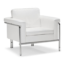 Zuo Modern - Zuo Modern Singular Modern Armchair X-161009 - With clean lines and sleek chrome, the Singular series is a sexy piece for your home. The Singular has a 100% chrome frame wrapped in a plush leatherette that comes in three colors: black, white and terracotta.