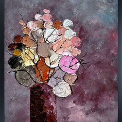 overstockArt.com - Ledent - Still Life (452120) Oil Painting - Still Life (452120) is a candy color display of abstract flowers in vase. Enjoy this still life in your home reproduced as a fine canvas print. Pol Ledent was born in 1952 in Belgium. He is a self-taught painter starting with watercolor, but rapidly came to the conclusion that oil painting would match his style better.