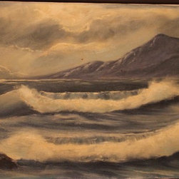 Ocean before the thunderstorm, oil on canvas, unframed -