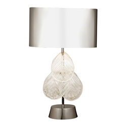 Global Views - Murano Glass Leaf Table Lamp - Glass leaves are made in Murano, Italy while the quality cast metal components come from India.  The table lamp includes 6 glass leaves.  Stainless steel with polished nickel plating.