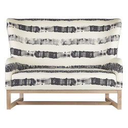 Suitor Graphite Stripe Love Seat - This graphic two-seater sports a classic wingback curve and modern graphite stripes. Oh, how I would love to build an entire room around this piece!