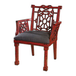 Uttermost - Camdon Red Armchair - Talk about a hot seat! This extraordinary chair is crafted out of solid mango wood, then given a dramatically distressed red and black finish. Designed by Matthew Williams, it adds unparalleled flair to your favorite setting.