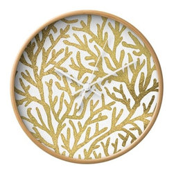 Ocean Gold Wall Clock - From deep under the sea comes the fabulously gold coral pattern of this wall clock. With a textural background and sleek styling, it's a striking modern accent on the wall.