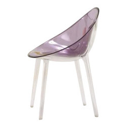Kartell - Mr. Impossible Chair, Transparent Purple - Quite possibly the coolest seat in the house, this chair's fluid form is achieved by fabricating the oval polypropylene seat separately, and then welding it onto a clear frame to create a bi-color effect. The result is a seamless, durable piece in a wide range of solid and transparent colors\