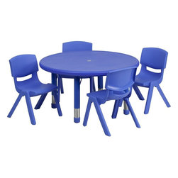 "Flash Furniture - 33"" Adjustable Blue Plastic Activity Table Set with 4 School Stack Chairs - This table set is excellent for early childhood development. Primary colors make learning and play time exciting when several colors are arranged in the classroom. The durable table features a plastic top with steel welding underneath along with height adjustable legs. The chair has been properly designed to fit young children to develop proper sitting habits that will last a lifetime."