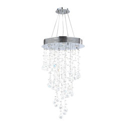 Worldwide Lighting - Helix Chandelier 18 In. - 6 Light in Chrome - This 6-light Helix Collection chandelier in Chrome finish and Clear crystal is a stunning addition to your home and is dressed with our 30% PbO Premier Crystal glass. Worldwide Lighting Corporation is a premier designer manufacturer and direct importer of fine quality chandeliers, surface mounts, and sconces for your home at a reasonable price. You will find unmatched quality and artistry in every luminaire we manufacture.