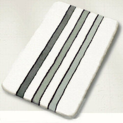 White & Black Bath Rugs - Black and white bath rug design.  Rugs shown are a large size in our collection 23.6in x 39.4in ($89.99).  A densely woven pile that is 1in tall and machine washable. The black and white design is available in a contour / pedestal rug, small and two extra large sizes (27.6in x 47.2in and 31.5 x 55.1).