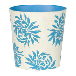 Worlds Away Oval Wastebasket, Turquoise Floral - Worlds Away Oval Wastebasket, Turquoise Floral