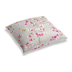 Gray & Magenta Cherry Blossom Custom Floor Pillow - A couch overflowing with friends is a great problem to have.  But don't just sit there: grab a Simple Floor Pillow.  Pile em up for maximum snugging or set around the coffee table for a casual dinner party. We love it in this light gray and fuchsia cherry blossom linen print that will make your room as refined and serene as a real Japanese garden.
