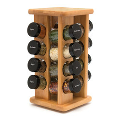 Lipper - Bamboo 16 Bottle Filled Spice Rack in Color Box - Filled Spice Bottles. Bamboo Rack. Color/Finish: Natural. Material: Bamboo. 12 in. L x 6.125 in. W x 12 in. H (1.19 lbs)