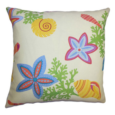 The Pillow Collection - Jaleh Green 18 x 18 Coastal Throw Pillow - - Pillows have hidden zippers for easy removal and cleaning  - Reversible pillow with same fabric on both sides  - Comes standard with a 5/95 feather blend pillow insert  - All four sides have a clean knife-edge finish  - Pillow insert is 19 x 19 to ensure a tight and generous fit  - Cover and insert made in the USA  - Spot clean and Dry cleaning recommended  - Fill Material: 5/95 down feather blend The Pillow Collection - P18-ROB-BEACHBONGO-MULTI-OUT