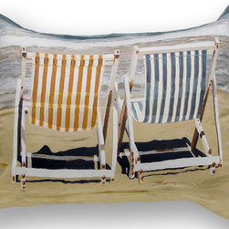 "ARTnBED - Beach Standard Sham - ""Chairs on the Beach"", A - 100% cotton sateen standard sham featuring a partial print of the painting ""Chairs on the beach"" by the artist Arie Azene"