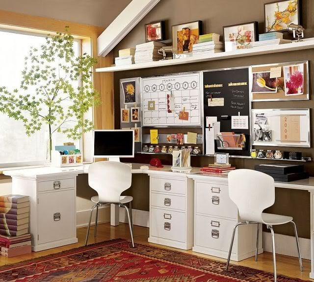 Eclectic Home Office Brown & White Home Office