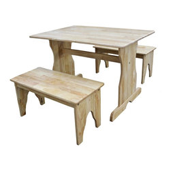 """Lamps Plus - Country - Cottage 3 Piece Set Natural Finish Kids Table and Benches - Whether picnicking coloring or simply contemplating the answers to their many questions children will spend hours at this traditional table. A quaint pair of rustic kids benches add charm while solid parawood construction provides enduring quality. A natural finish keeps the look clean even if the surface won't stay that way for long. Some assembly required. Set of 3. Natural finish. Solid parawood construction. Some assembly required. 32"""" wide. 21"""" high. 22"""" deep. Bench is 23"""" wide 12"""" high 11"""" deep. Seat height is 12"""".  Set of 3.   Natural finish.   Solid parawood construction.   Some assembly required.   32"""" wide.   21"""" high.   22"""" deep.   Bench is 23"""" wide 12"""" high 11"""" deep.   Seat height is 12""""."""