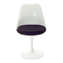 "LexMod - Lippa Dining Side Chair in Black - Lippa Dining Side Chair in Black - The Lippa Side Chair adds the perfect modern classic touch to any dinning space. Sturdy, easy to clean and lovely to behold, these chairs elevate a meal to whole new levels of enjoyment. Available in an array of colors, the Lippa Chair makes it easy to express your individual style. Set Includes: One - Lippa Side Chair ABS Plastic Seat, Aluminum Base, Cloth Cushions Overall Product Dimensions: 21""L x 20""W x 32.5""H Seat Height: 19""H - Mid Century Modern Furniture."