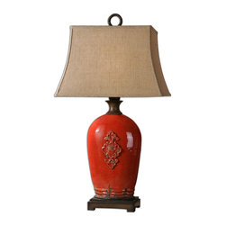 Uttermost - Mataline Crackled Red Lamp - Call attention to your favorite end table and armchair by adding this gorgeous, rust red, antiqued lamp to the mix. The rectangular rust linen shade adds textural contrast and visual interest.