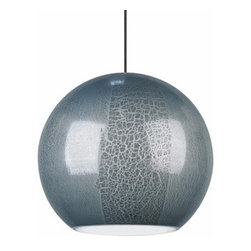 LBL Lighting - LBL Lighting | Zollo Low Voltage Pendant Light - Design by LBL Lighting.The Zollo Low Voltage Pendant Light feautes a spherical Italian glass shade with an organic pattern. Includes six feet of field-cuttable suspension cable. Provides ambient, decorative illumination with xenon lamping or energy-efficient LED technology. Offered in bronze or satin nickel finish with a blue or gray glass shade. LED option not compatible with 24 volt transformers. Select from 2-circuit monorail, fusion jack, monopoint, or monorail mounting options.Shown in bronze finish with a blue shade.