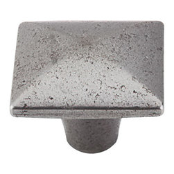 """Top Knobs - Square Iron Knob Smooth 1 3/8"""" - Cast Iron - Width - 1 3/8"""", Projection - 1 1/8"""", Base Diameter - 7/16"""""""