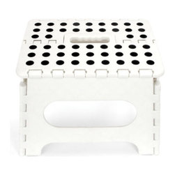 White Step Stool - A cute little step stool for the kiddies that folds flat. Stylish and practical — check!
