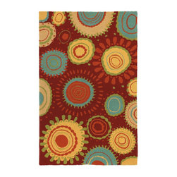 Grandin Road - Sundew Outdoor Rug - 5' x 8' - Durable and easy care outdoor rug. Suitable for indoor or outdoor use. Hand hooked construction. 100% polypropylene. Water, mildew, and stain resistant. Stylized sunbursts emanate from the burgundy-red ground of our eye-popping Sundew Outdoor Rug. Display this irresistible play of golden yellow, aqua blue, and sage green on a porch or patio--or take it inside to a high-traffic entryway or kitchen.. . . . . Spot clean or simply spray with a hose and hang dry. Imported.